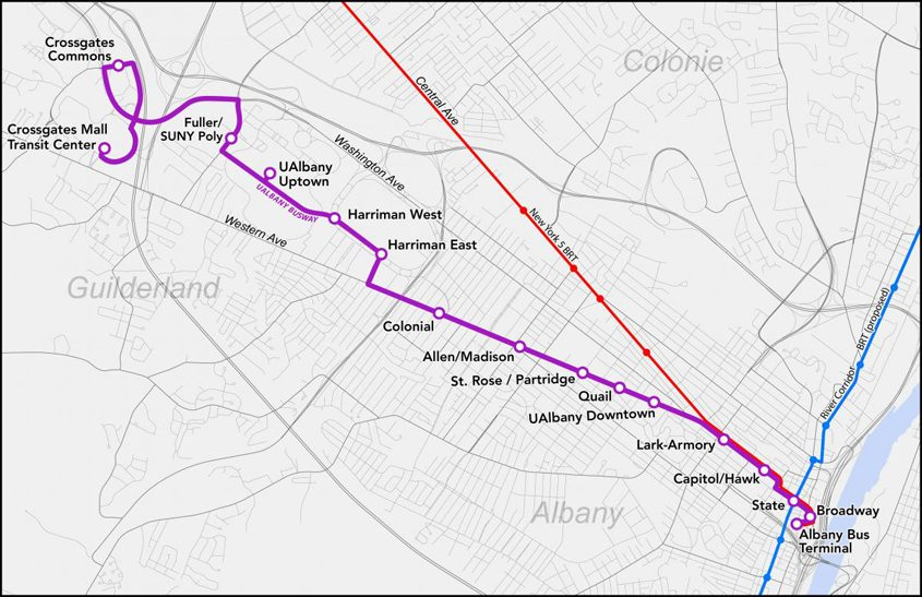 A map of CDTA's planned Purple Line bus rapid transit route.