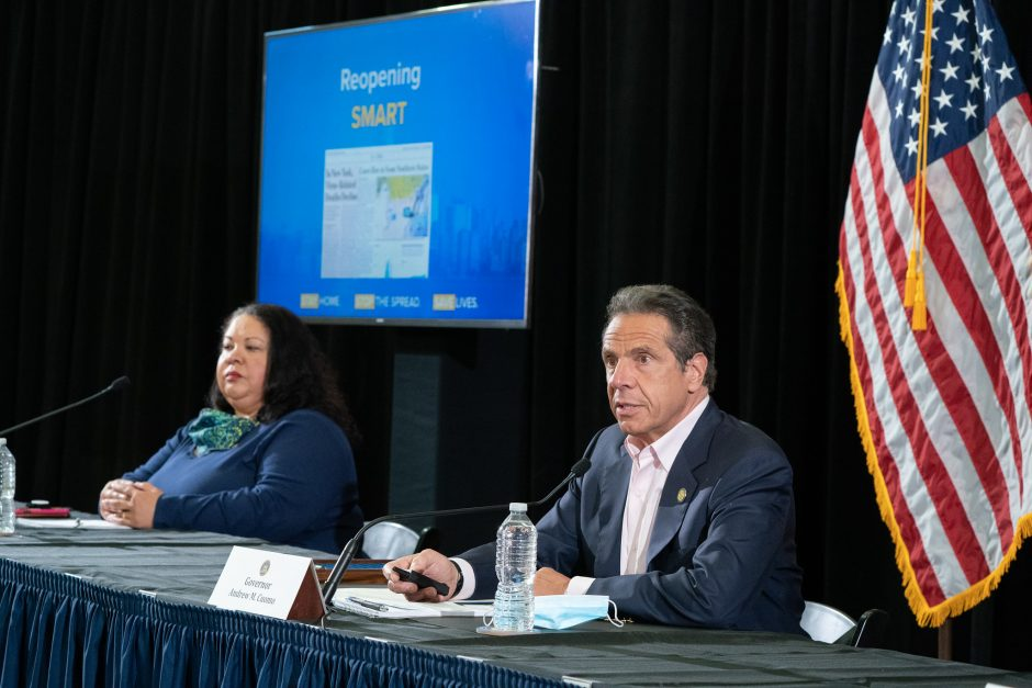 Gov. Andrew Cuomo delivers his daily briefing on the coronavirus, March 30, 2020.
