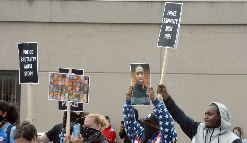 A scene from Sunday afternoon's peaceful protest in Schenectady