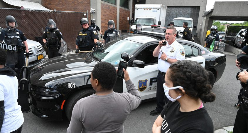 Schenectady Police Chief Eric Clifford speaks to protesters Sunday