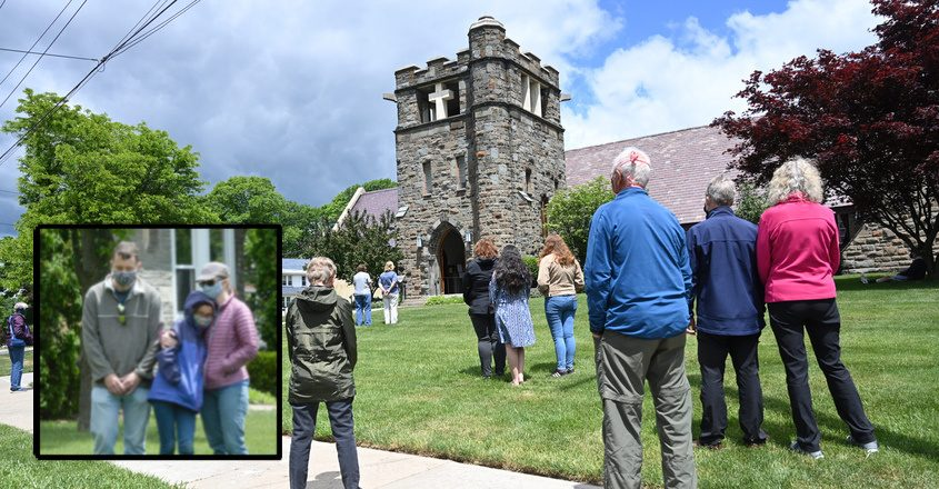 People gathered at noon Monday in front of St. Stephen's Episcopal