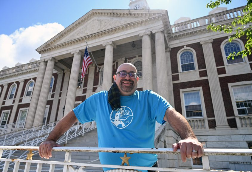 Schenectady City Historian Chris Leonard in front of city hall before starting out on a walk.