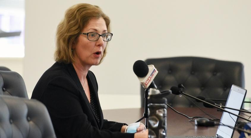Saratoga Springs Commissioner of Finance Michele Madigan speaks to media during a May press conference
