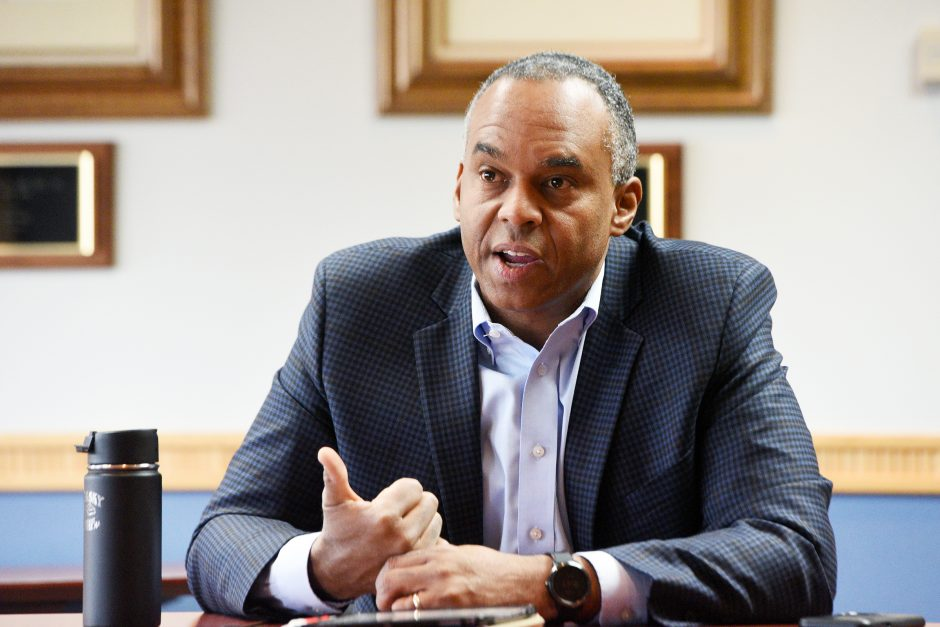 Union College President David R. Harris interviews with editorial board at Daily Gazette in Schenectady on November 15, 2019.
