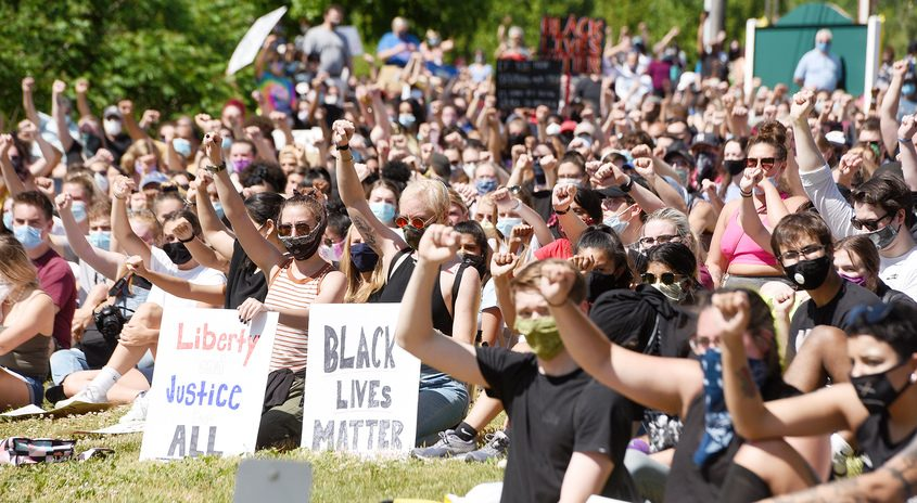 Protesters in Clifton Park Monday