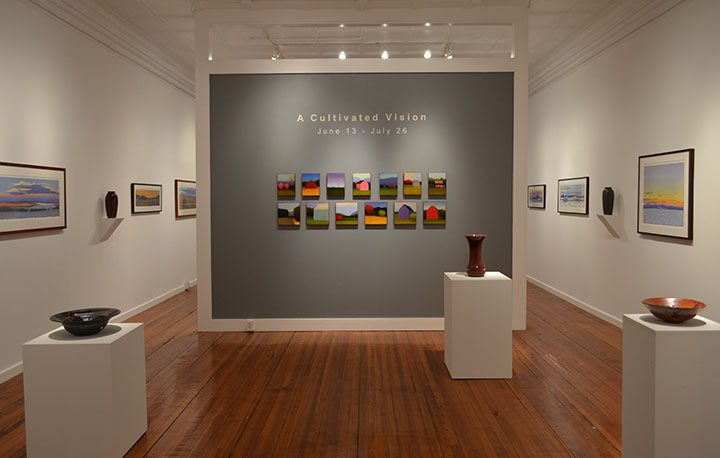 """An installation photo of the exhibit """"A Cultivated Vision"""" at the Laffer Gallery in Schuylerville."""