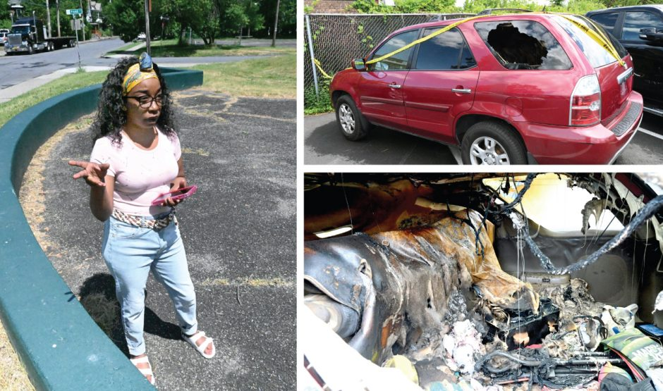 Jahonna Chaires and her destroyed vehicle.