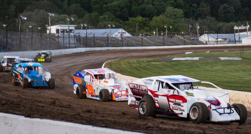 Drivers practice at Fonda Speedway last Saturday night.