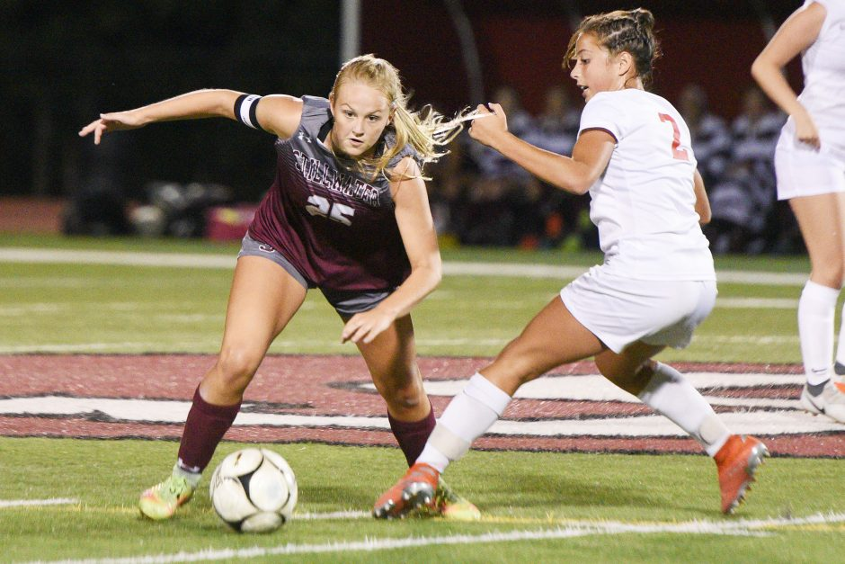 Stillwater's Keelyn Peacock with the ball against Mechanicville's Nevaeh D'Aica during a Sept. 16 game.