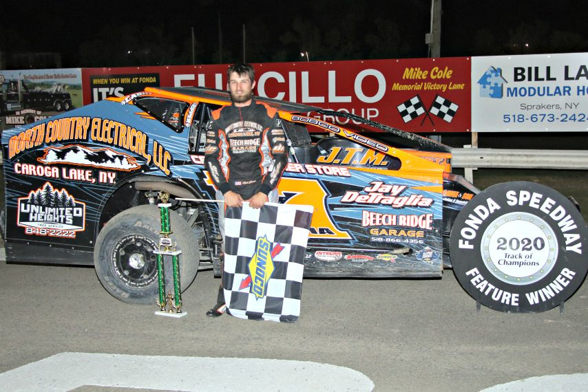 Nick Scavia in victory lane Saturday at Fonda Speedway.