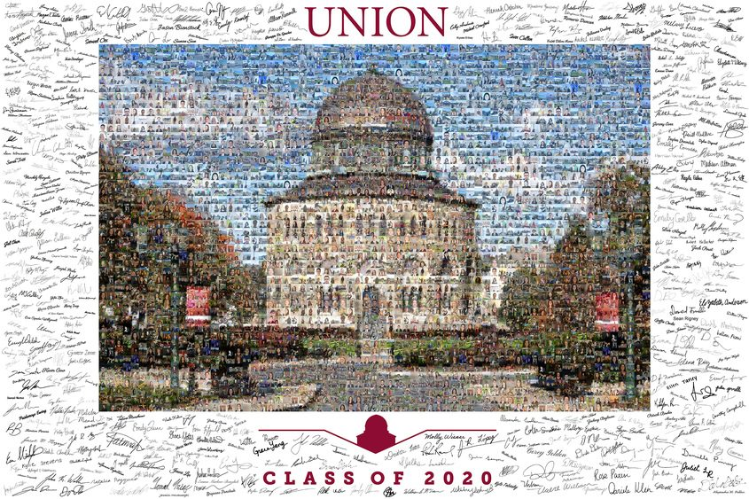 Shown is a poster of the Nott Memorial with the signatures of the members of Union's Class of 2020.