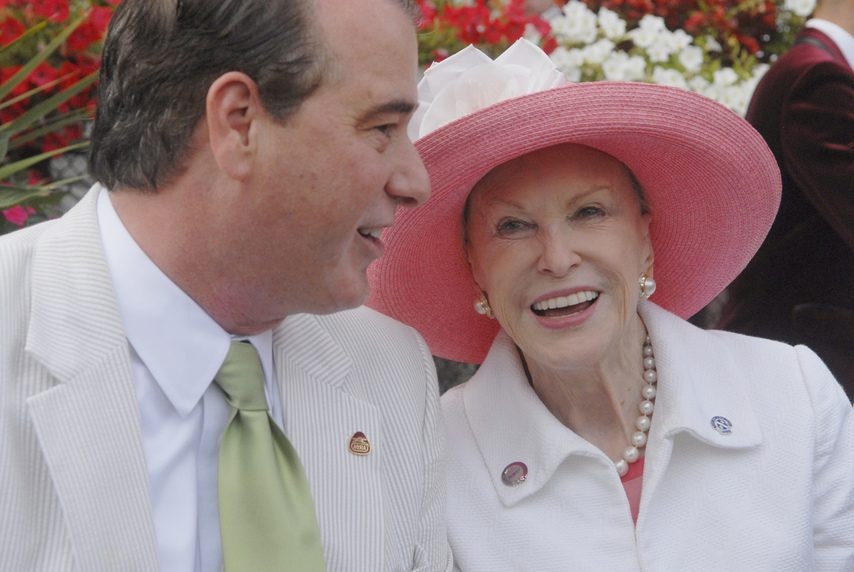 Marylou Whitney, right, and husband John Hendrickson attend the 2015 Whitney Stakes Day at Saratoga.
