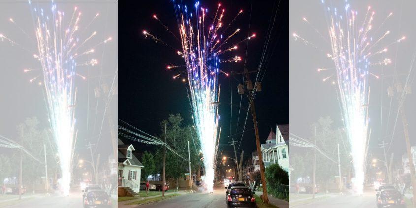 Fireworks explode over Hulett Street in Hamilton Hill July 4, 2019