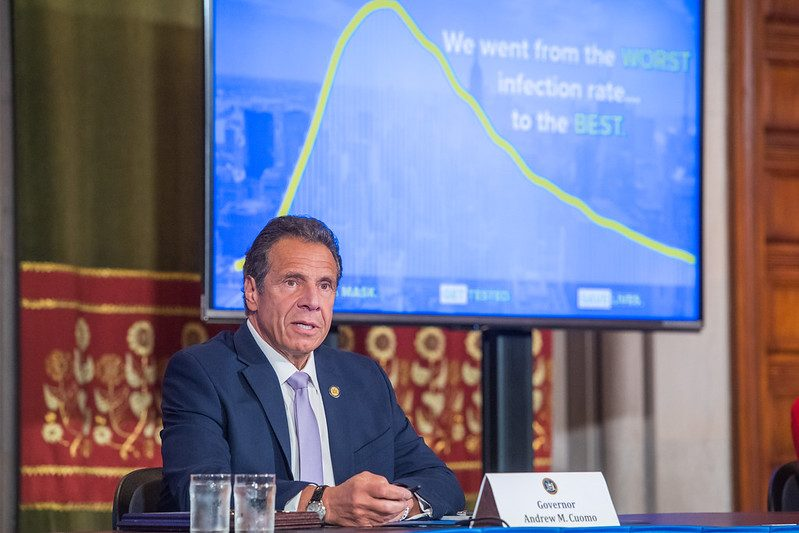 Gov. Andrew Cuomo briefs reporters Wednesday at the state Capitol.