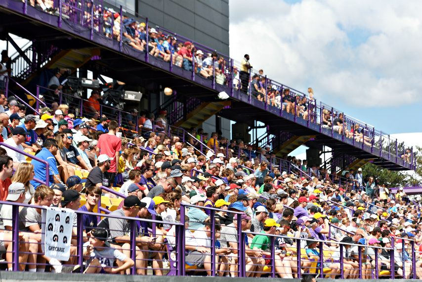 A packed crowd watches Premier Lacrosse League action last August at Tom & Mary Casey Stadium in Albany.