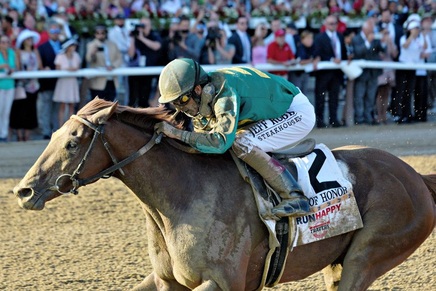 Code of Honor, ridden by John Velazquez, wins the 150th Travers Stakes on Aug. 23 at Saratoga Race Course.