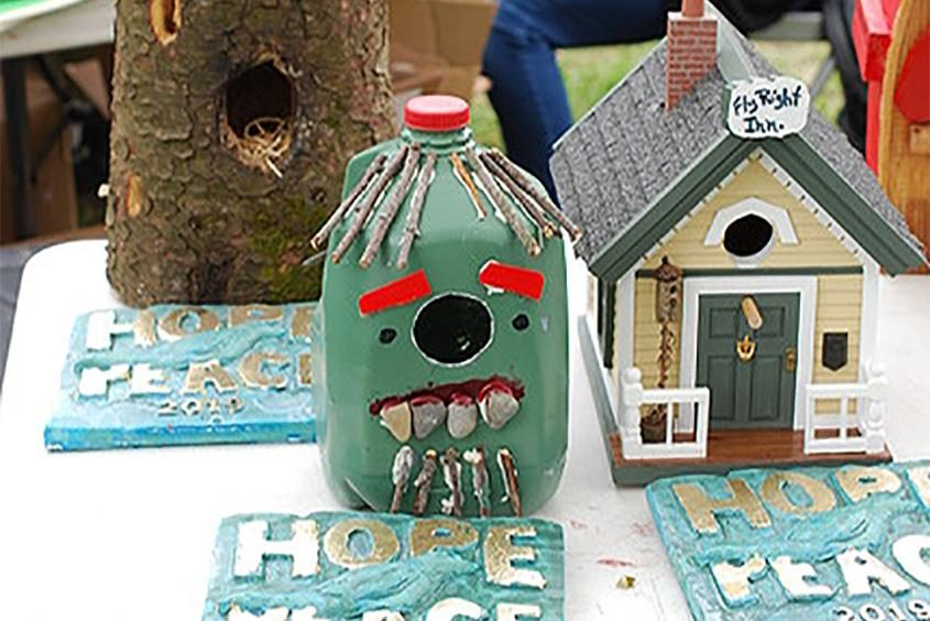 Some of the entries in the 2nd annual Ballston Spa Birdhouse Competition.