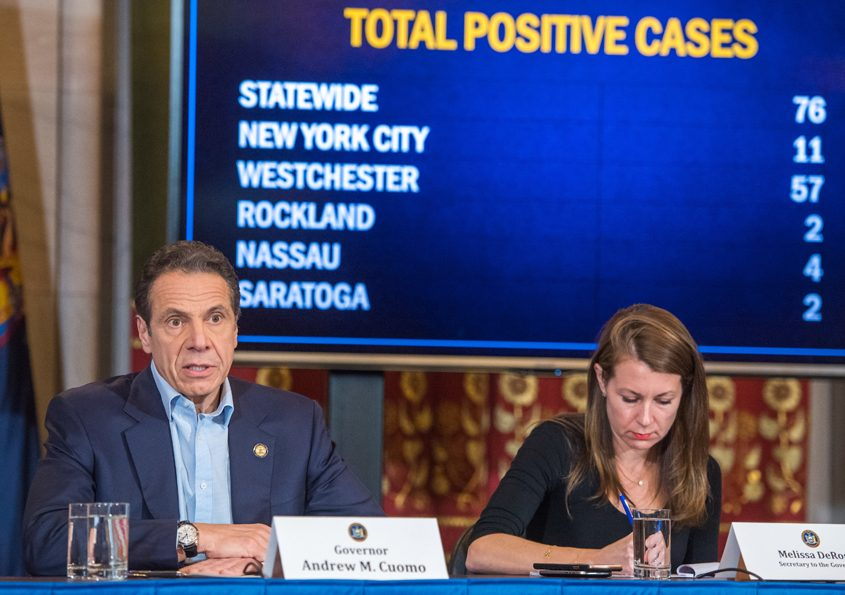 Gov. Andrew Cuomo delivers a briefing March 7, when there were fewer than 100 known cases of COVID-19 in New York state.