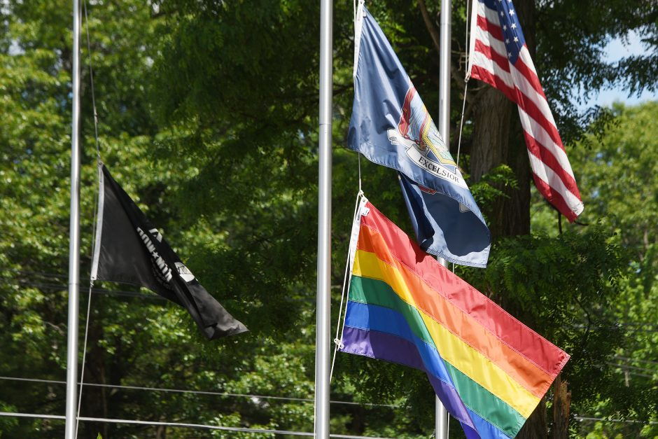 The LBGT pride flag hangs below the NYS flag near intersection now Northline and Rowland Street in Milton on June 19, 2020.