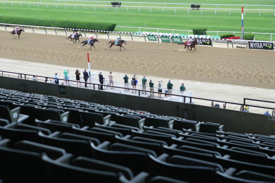 Tiz the Law wins the 152nd Belmont Stakes in front of an empty grandstand.