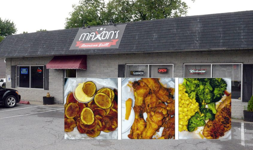 From left: Grandma's Chips; wings; and the salmon entree with sides of corn and broccoli at Maxon's American Grill in Rotterdam.