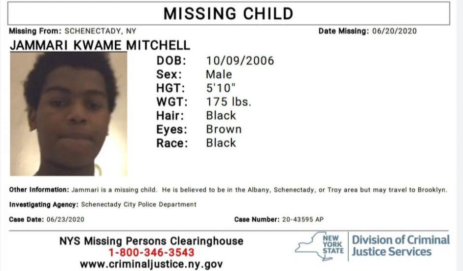 Jammari Kwame Mitchell's missing person flier