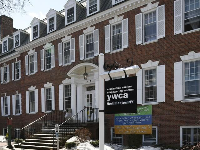 The exterior entrance to the YWCA of Northeastern NY's facility at 44 Washington Ave.