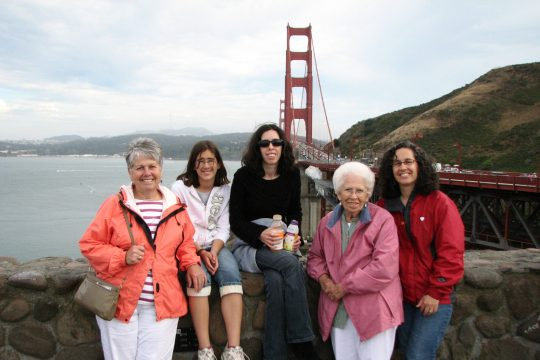 Mom, Emily, Becky Nana and the writer at the Golden Gate Bridge.