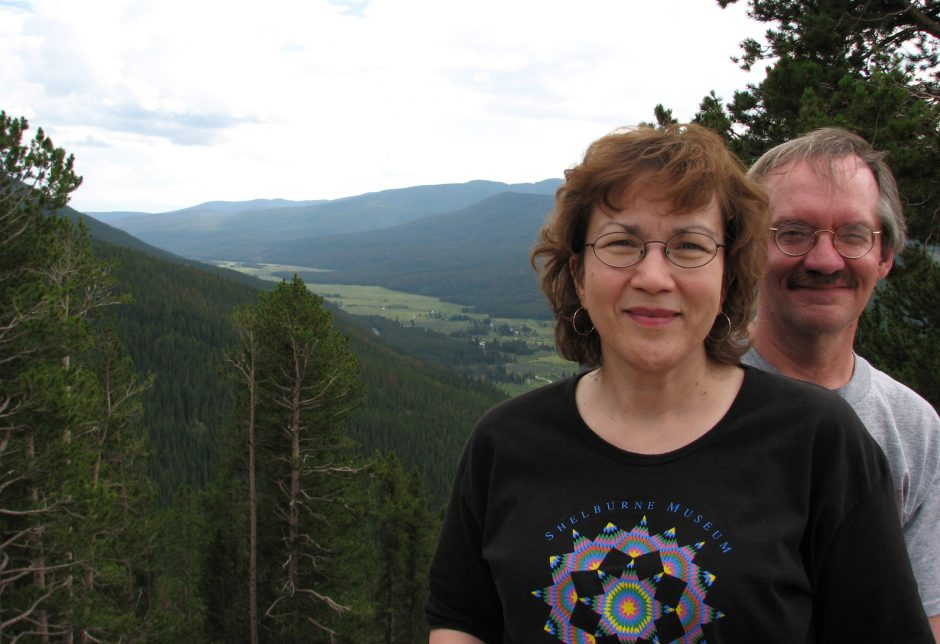 Heidi Williams and the writer at an overlook in Rocky Mountain National Park.