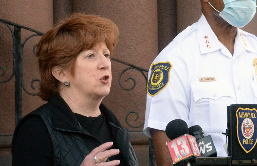 Albany Mayor Kathy Sheehan last month
