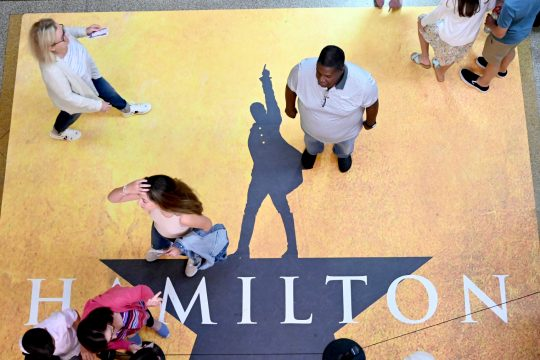 """Patrons make their way to seats before a showing of """"Hamilton"""" at Proctors in Schenectady last summer."""