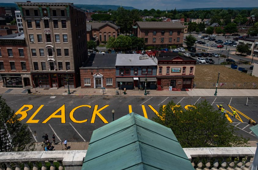 The first component of the Black Lives Matter Black Art Project was the installation of the Black Lives Matter street writing.