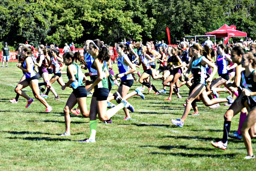 Runners start the girls' varsity race at the 2015 Niskayuna Ekiden.
