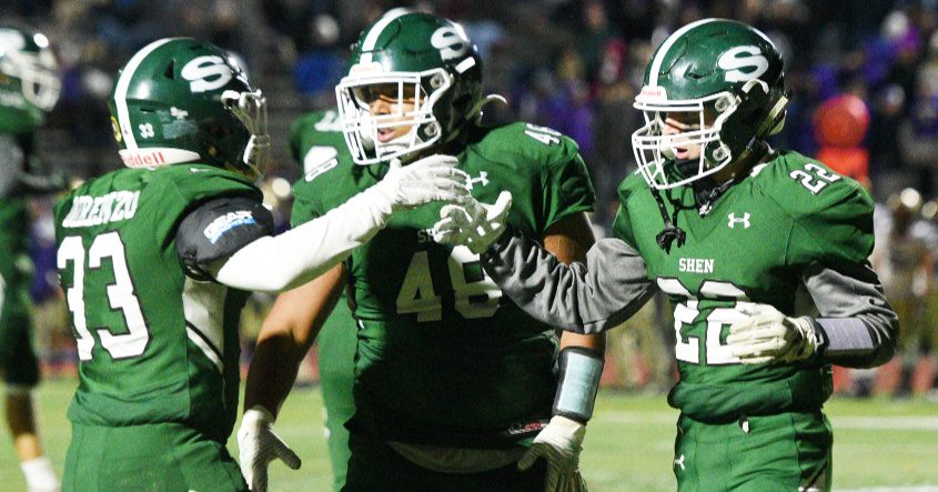 Shenendehowa's Billy Beach celebrates a touchdown against CBA with Jacob DiRenzo and Jaysiah Woodrow on Nov. 1.