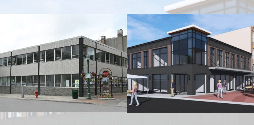 A photo of 430 Franklin St. shows the building as it appeared Tuesday; a rendering shows its planned renovation.