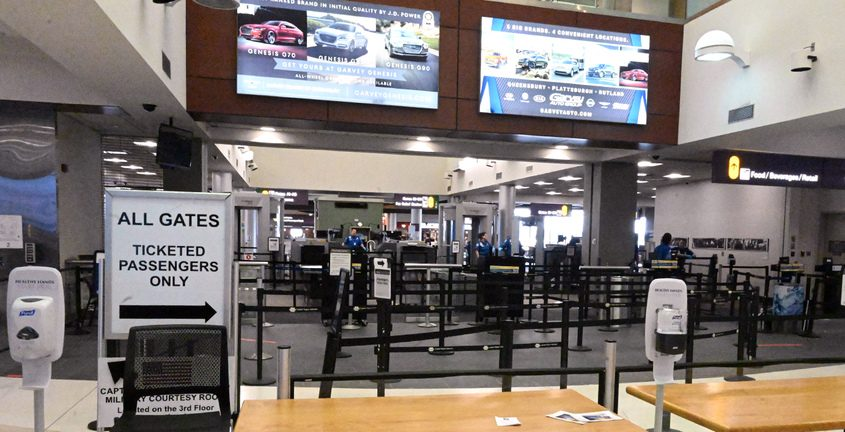 Inside the Albany International Airport in late March