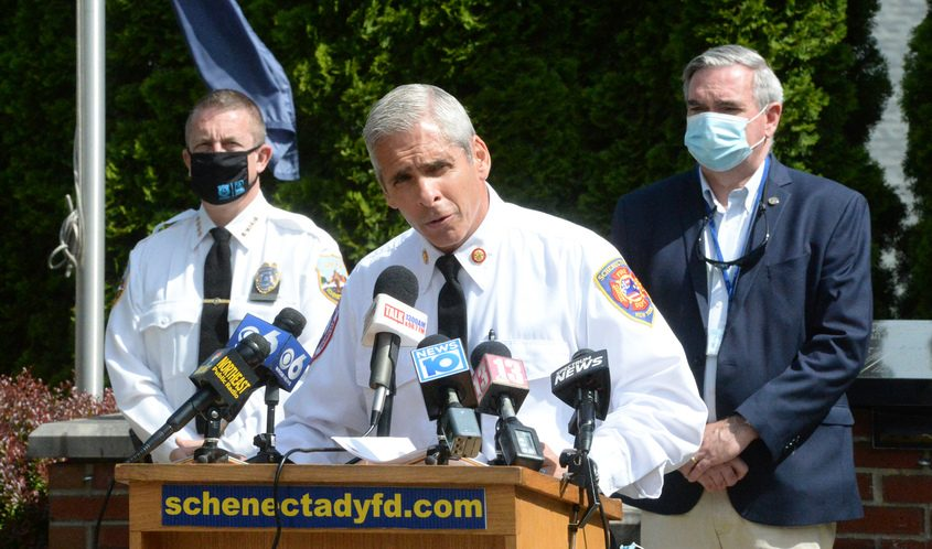 Fire Chief Ray Senecal and other city officials addressing illegal fireworks recently