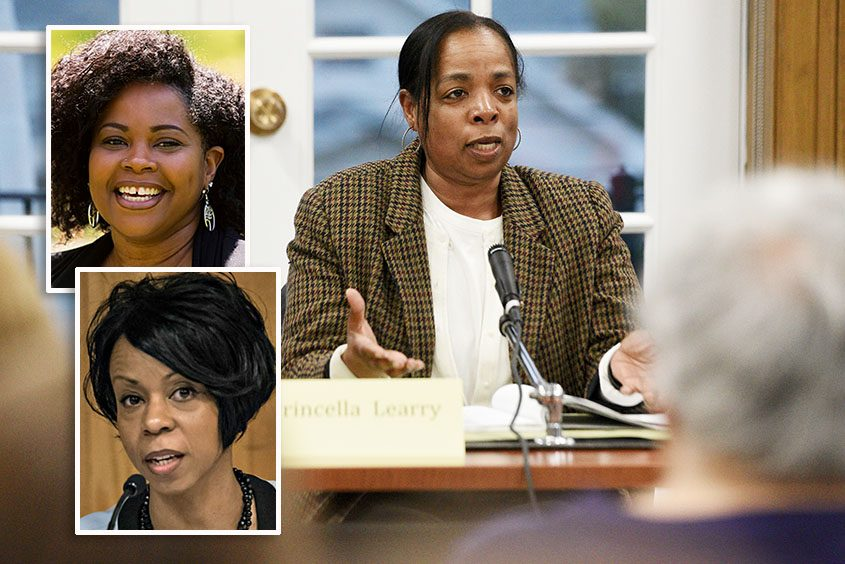 Schenectady school board members Princella Learry, right, and Nohelani Etienne, inset top, and Bernice Rivera, inset bottom.