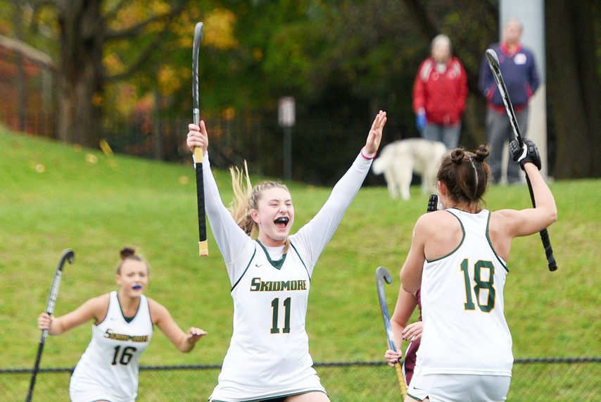 Skidmore field hockey's Mariah Redler, left, and Gabrielle Vaccaro celebrate a goal against Union last season.