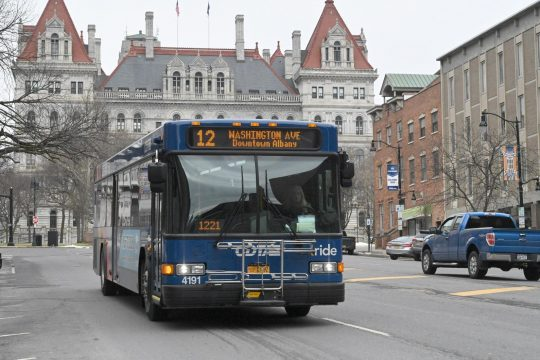 CDTA bus along South Pearl St. in Albany.