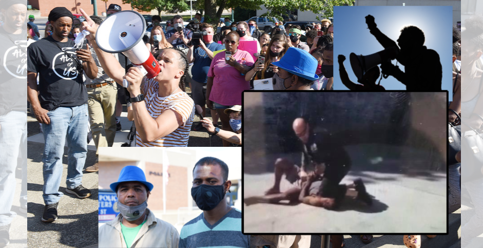 A screen capture from the video (lower right); Yugeshwar Gaindarpersaud and his father (lower left) and protesters Monday