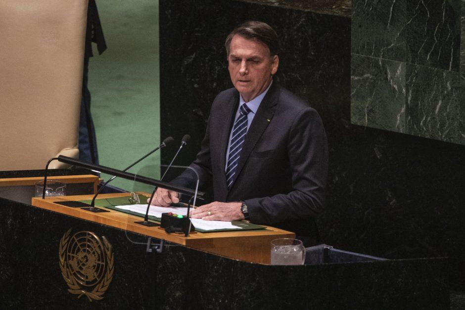 President Jair Bolsonaro of Brazil at U.N. headquarters in New York, Sept. 24, 2019.