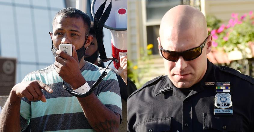 Yugeshwar Gaindarpersaud, left, Monday; Officer Brian Pommer in 2018, right