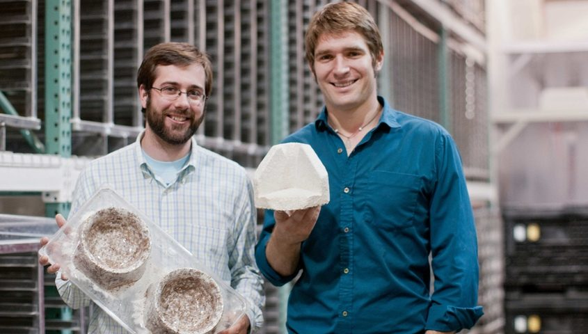 Ecovative Design co-founders Gavin McIntyre, left, and Eben Bayer are shown in an undated photo