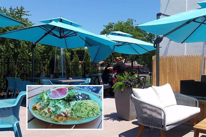 Outside seating at Toro Cantina; inset, enchiladas with beans and rice and salad topped with Mexican radish.