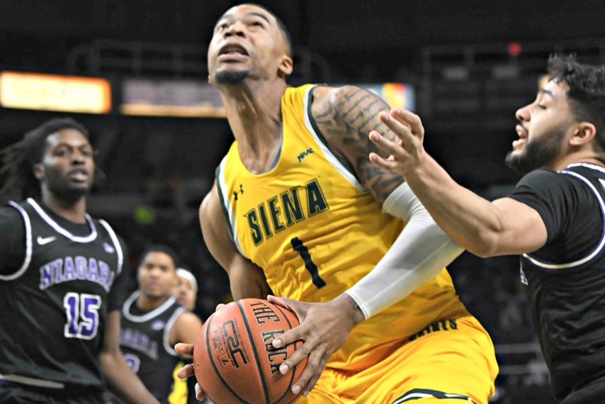 Siena forward Elijah Burns.