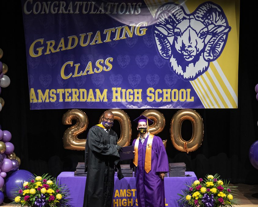 A scene from the Amsterdam High School graduation ceremony June 27.