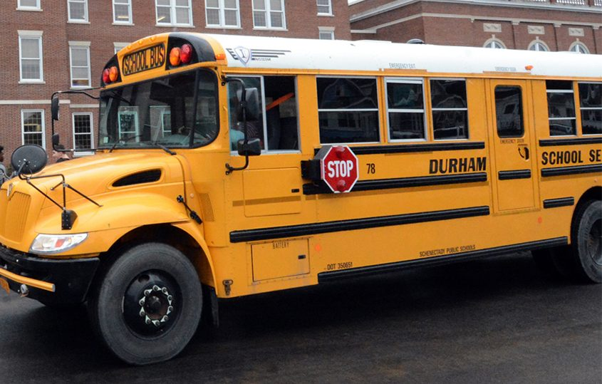 A school bus pulls up to Mont Pleasant Middle School in this file photo.