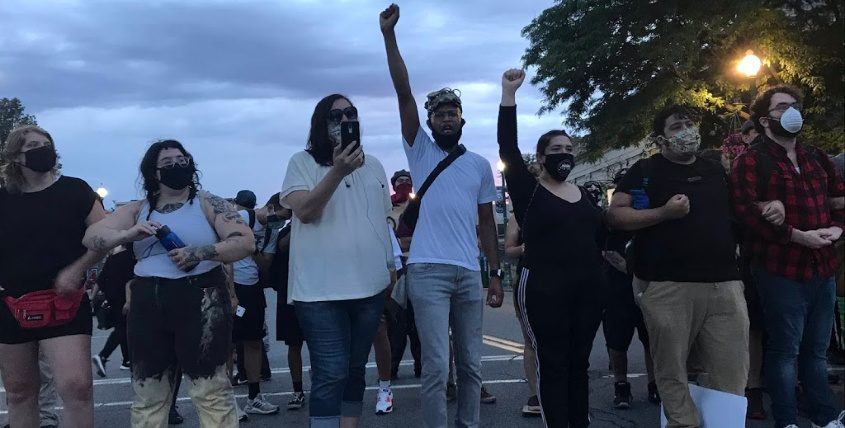 Protesters on Liberty Street Monday evening