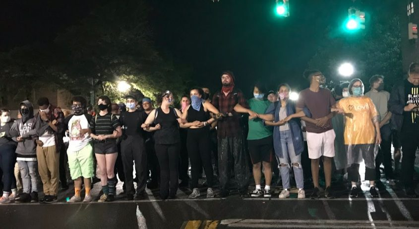 Protesters Monday night in Schenectady